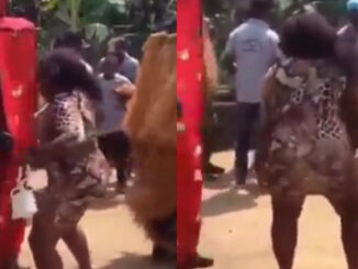 Lady Caught dancing with masquerade