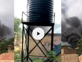 Just In: Unknown Gunmen burns newly built INEC office in Imo (video)