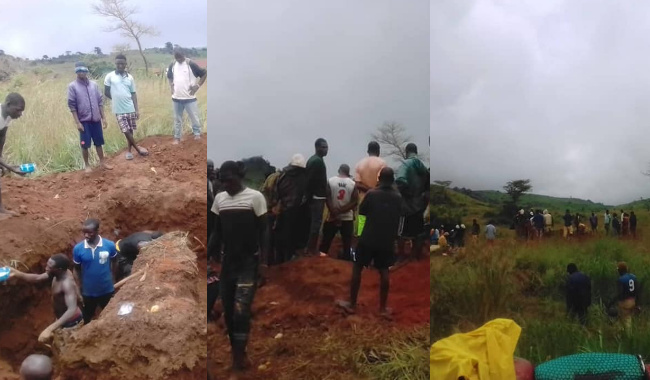 Survivors dig graves ahead of Saturday's mass burial after bandits attack (Photos)